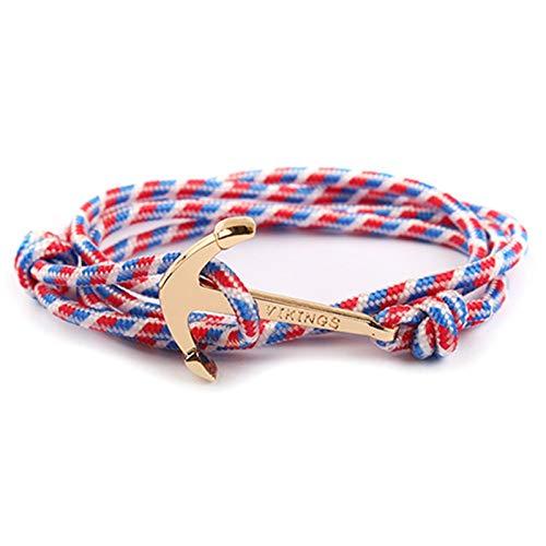CNZXCO Bracelet Viking Homme, Bouclier Viking, Hache Viking, Vikings, Crochet De Pêche Viking, Bracelet d'ancrage À Corde en Nylon, Simplicité Et Masculinité À Son Meilleur Wilde Implicite