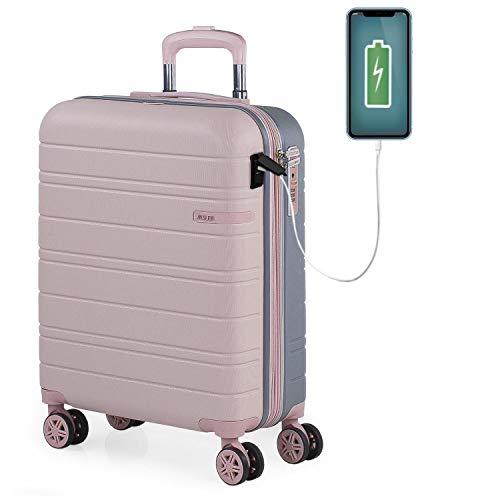 JASLEN - Maleta Cabin Pequeña con Ruedas Rígida Extensible Hombre Mujer. Conexión para Carga USB. 4 Ruedas Trolley. Equipaje de Mano. Candado de Seguridad TSA. 171250, Color Rosa-Plata