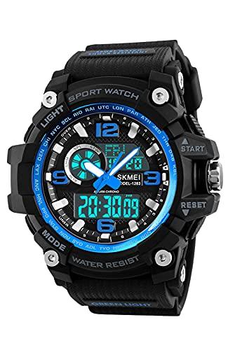 Herrenuhr Militär 50M Wasserdicht Sport Digitaluhr Großes Armbanduhren LED Digital Analog Männer Uhren mit Wecker Datum