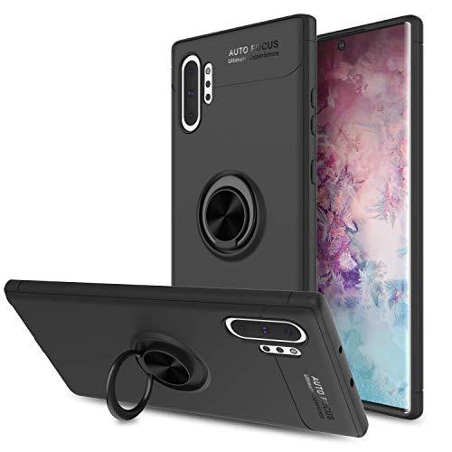 Lapinette Cover compatibile con Samsung Galaxy Note 10 Plus, anello a Selfie, custodia per Galaxy Note 10 Plus, protezione morbida, flessibile, supporto ad anello a 360°, colore: Nero