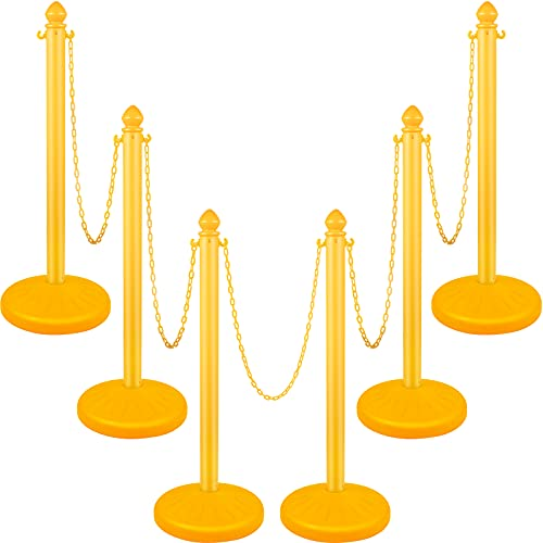 VEVOR Plastic Stanchion, 6pcs Chain Stanchion, Outdoor Stanchion w/ 6x39.5inch Long Chains, PE Plastic Crowd Control Barrier for Warning/Crowd Control at Restaurant, Supermarket, Exhibition, City Mall