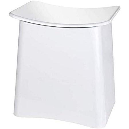 WENKO Tabouret Wing - Panier à linge, tabouret de salle de bain avec sac à linge amovible Capacité: 33 l, Plastique (ABS), 45 x 48 x 33 cm, Blanc