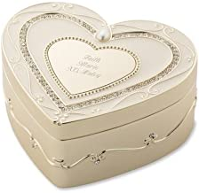 Things Remembered Personalized Soft Gold Regal Elegance Heart Keepsake Box, Jewelry Box with Engraving Included