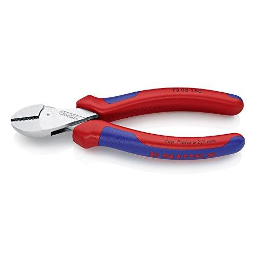 KNIPEX 73 05 160 X-Cut® Kompakt-Seitenschneider hochübersetzt verchromt mit Mehrkomponenten-Hüllen 160 mm