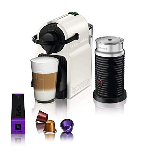 Nespresso Inissia Coffee Capsule Machine with Aeroccino, White by Krups