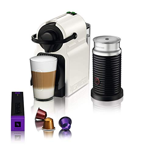 Nespresso Inissia Coffee Capsule Machine with Aeroccino, White by Krups