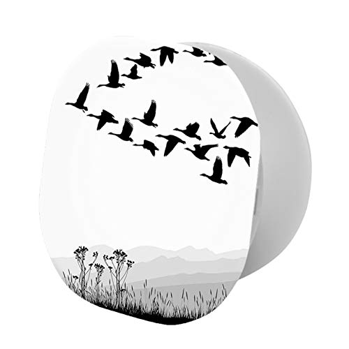 Foldable Cell Phone Stand,Monochrome Silhouette of Flying Geese in Greyscale Landscape Background,Adjustable Mobile Phone Holder