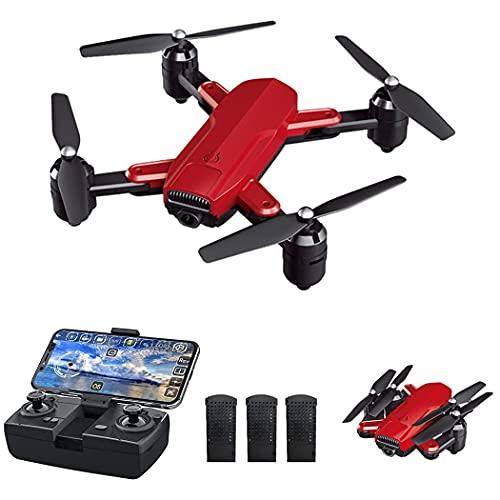 XIAOJUAN GPS Drone med kamera HD 1080p för nybörjare och barn - RC Quadrocopter Drone FPV med Live Transmission/Automatisk Retur/Följ mig Funktion (3 Batterier), röd, 720p