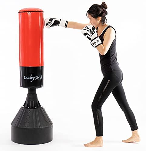サンドバッグ スタンド 自宅用 自立式 スタンディング 吸盤付き ボクシングサンドバック【Lucky SHIA】レッド