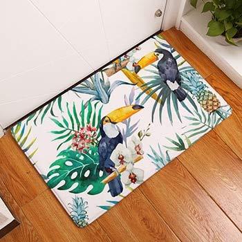 OPLJ Tropical Plant Strauß Print Teppiche rutschfeste Küchenteppiche für Wohnzimmer Bodenmatte Teppich Waschbare Bodenmatte A6 40x60cm