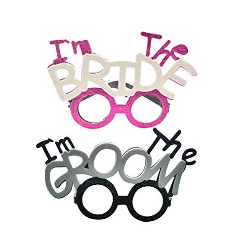 BESTOYARD 2 stücke Ich Bin Die Braut Party Brille Lustige Brillen Ich Bin Der Bräutigam für Hochzeit Hen Party Brautdusche Kostüm Brille Requisiten (Braut + Bräutigam)