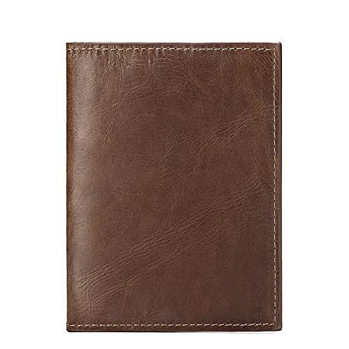 パスポートケース本革 旅券ケース牛革 パスポートカバー レザーパスポート入れ 軽量 シンプル パスポートケース 男女兼用パスポートケース スキミング防止クラシックレトロな雰囲気 アンティーク調 カードケース付き(ブラウン)