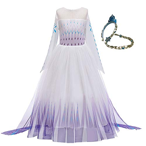 Elsa 2 Prinzessinnen-Kostüm für Mädchen Netzrock Schneekönigin Lange Ärmel Outfit Verkleidung für Kinder Weiß Gr. 7-8 Jahre, Weiß (1)