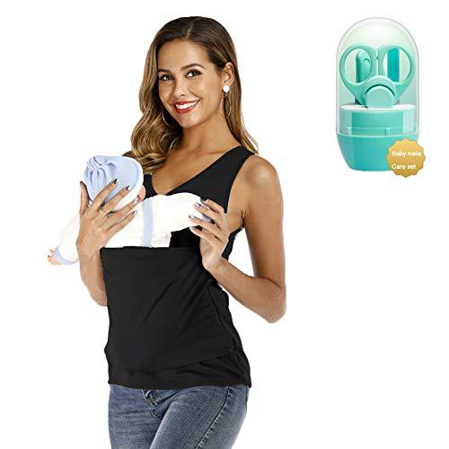 OJKYK Känguru Mama T-Shirt Mutterschaft Säuglingspflege Papa Taschen Oberteile Kurzarm Bluse Mit Baby Nagelknipser Set,B,XXL