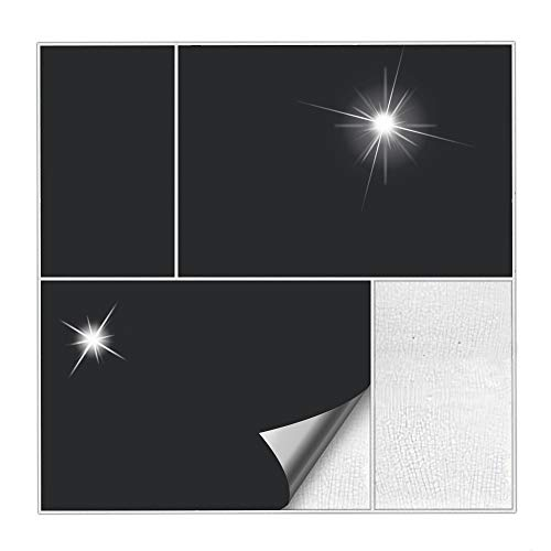 Kiwistar Fliesenaufkleber Schwarz 70 Glänzend - 15 x 20 cm - 50 Stück - Für Bad, Küche etc