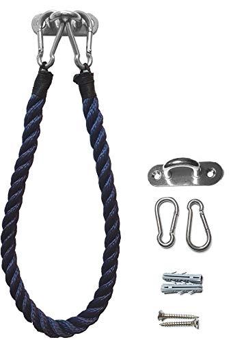 WOWGADGET Toilettenpapierhalter, Handtuchhalter, aus hochwertigem Segel-Tauwerk/Seil mit Halterung und Karabinerhaken aus Edelstahl, inkl. Befestigungsmaterial, Klopapierhalter (Marineblau)