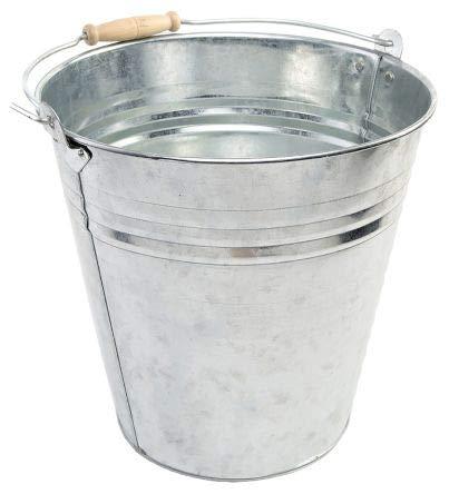Robuster Eimer aus verzinktem Stahl, 12 l, mit einfachem Griff, für Wasser, Kohle, Feuer, Gewächshaus, Garten, Garage, Schuppen, Küche