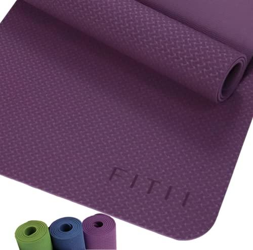 FITII TPE Yogamatte rutschfest, fitnessmatte Gynastikmatte Trainingsmatte, Pilatesmatte für Yoga, Pflegeleichte jogamatte mit Tragegurt (violett,183 * 61 * 0.6cm)