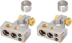 2/4/8/10 Gauge Inputs Gold Screws terminals hold cables securely in place Fast and easy installation Includes (1) Negative and (1) Positive Terminal Nickel and Gold construction for excellent signal transfer and great design