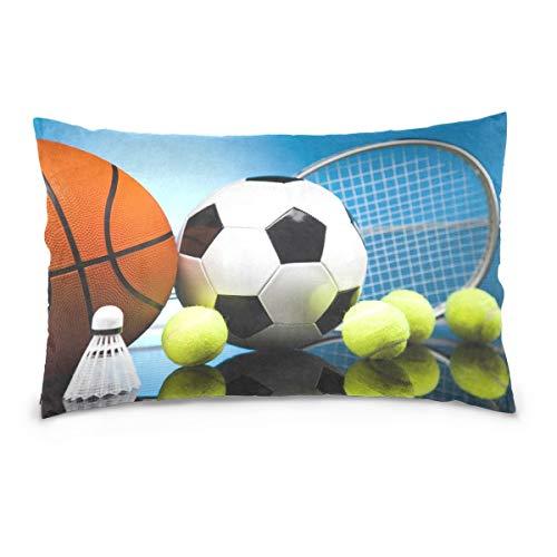 WH-CLA Throw Pillow Covers Baloncesto Fútbol Fútbol Tenis Funda De Almohada Personalizable Rectángulo 40X60 Cm Cremallera Oculta Funda De Almohada con Estampado De Dos Lados Funda De Coj