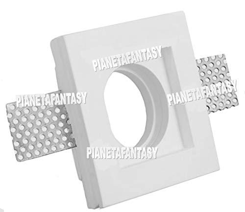 Porte spot carré en plâtre céramique à encastrer PF8 lot de 10 pièces + ressort blocage ampoule