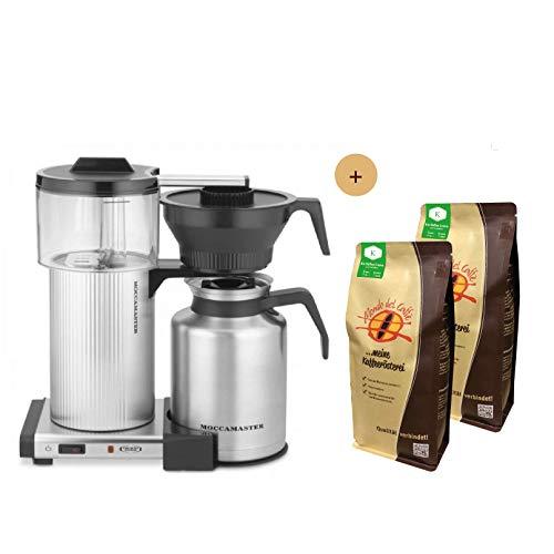 Moccamaster CDT Grand 1,8 Liter Filter Kaffeemaschine Aktionspaket mit 2 * 1 kg Filterkaffee von Mondo del Caffè/Inklusive 1 * 1,8 Liter Thermoskanne