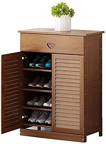 QZMX Estante de Zapatos Estantería de bambú Gabinete Corredor estantería for los Zapatos del Zapato estantes de gabinete en Rack, Hecha de 100% de bambú Natural Estante (Size : 4-Tier with Drawer)