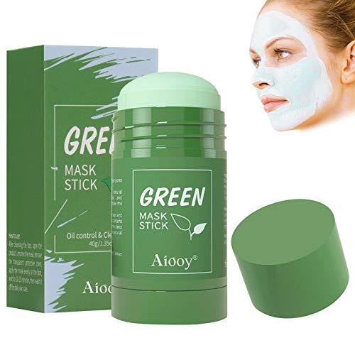 Reinigungsmaske Gesicht, Green Tea Mask Stick, Purifying Clay Stick Mask, Feuchtigkeitsspendend, Tiefenreinigung, Regulierung des Wasser- und Ölhaushalts, 40g