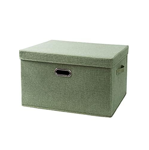 LXZFJW Cajas Organizadoras Tela Cajas Plegable con Tapa E Asa Organizadores De Contenedore para Ropa Juguetes(Size:38×25×26cm,Color:Verde)