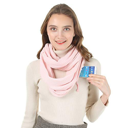 CADITEX Reise Schal, Infinity Schal mit versteckter Geheimtasche (Verdicktes Rosa)