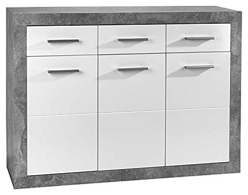 Sideboard Anrichte Mehrzweckschrank   Weiß Hochglanz   Betonoptik   3 Türen   3 Schubladen