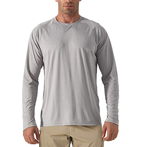 KEFIETVD Herren Funktionsshirt UPF 50+ UV Schutz Langarm Performance T-Shirt Segeln Kanu Outdoor Schutzkleidung Board Surfen Freizeit Shirt Atmungsaktiv Grau XL
