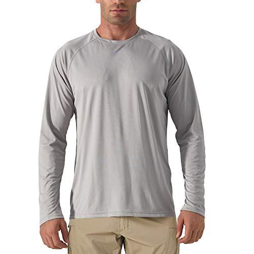 KEFIETVD Herren Funktionsshirt UPF 50+ UV Schutz Langarm Performance T-Shirt Segeln Kanu Outdoor Schutzkleidung Board Surfen Freizeit Shirt Atmungsaktiv Grau L