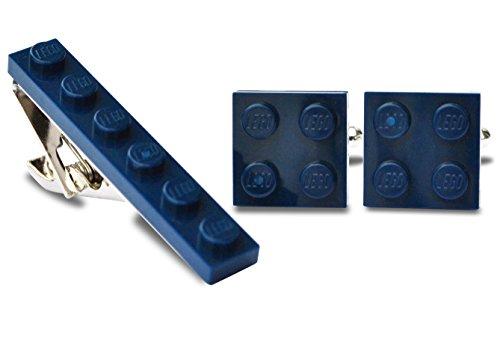 SJP Cufflinks LEGO® plaque Boutons de manchette et pince à cravate Ensemble de mariage (Bleu foncé), marié, Coffret cadeau pour homme
