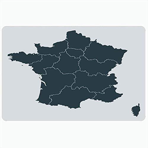 Alfombra de baño para baño Alfombrillas antideslizantes Ciudad Córcega Área de París Mapa detallado de Francia Región Ai Contorno norte en color gris Nación abstracta Decoración de felpa Felpudo Alfom