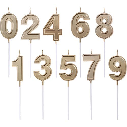 Olgaa 10 Pieces Birthday Cake Numeral Candles Happy Birthday Cake Candles Topper Decoration Number 0-9 Cake Candles (Gold)