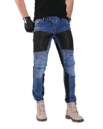 GELing Hombre Motocicleta Pantalones Moto Pantalón Mezclilla Jeans con Protección Aramida ,Azul,3XL