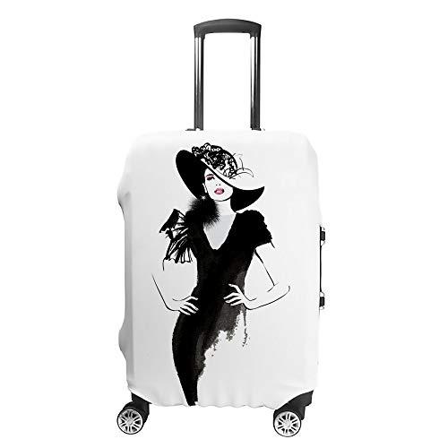 """CHEHONG Housse de voyage en polyester résistant à l'eau pour femme Modèle tendance Noir Bonnet lavable résistant à la poussière Housse de bagages lavable en polyester pour 45,7 à 32"""""""