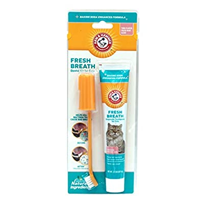 Arm & Hammer Pets Dental Care for Cats | Water Additive & Dental Kit for Cats | Cat Toothbrush, Cat Toothpaste, and Cat Fingerbrush | Baking Soda Enhanced Formula Naturally Deodorizes Bad Pet Breath