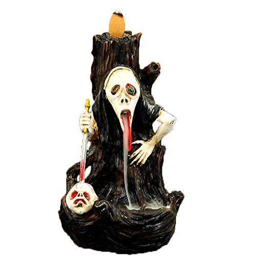 Porta Incienso de Cerámica con Cono de Reflujo Halloween de Miedo Cascada de reflujo de cerámica Regalo Quemador de Incienso de Halloween del Vintage Quemador de Incienso de Reflujo Cerámico
