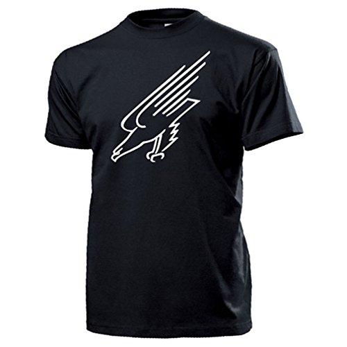 Fallschirmjäger Adler Wappen Abzeichen BW Luftwaffe Grüne Teufel T Shirt #16316, Farbe:Schwarz, Größe:Herren L