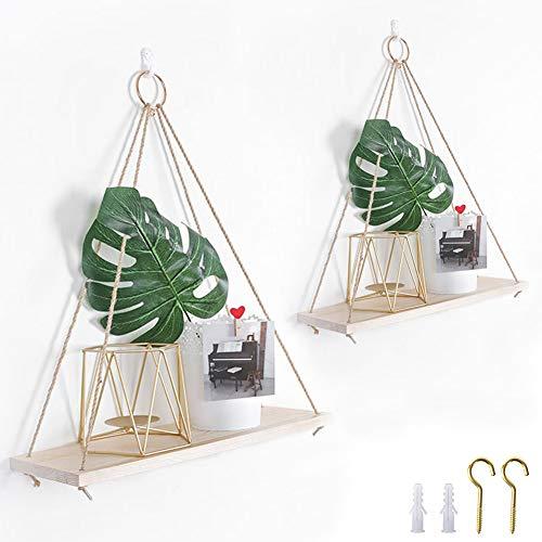 Hileyu Lot de 2 étagères rustiques en bois vieilli à suspendre avec corde et crochets