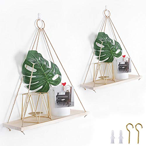Rustic Shelf 2 Packs Wooden Floating Shelves with String Rope Hanging Floating Shelves Rustic Distressed Wood Hanging Shelves Wood Wall Decor Swing Rope Floating Shelf with Hooks for Living Room Small