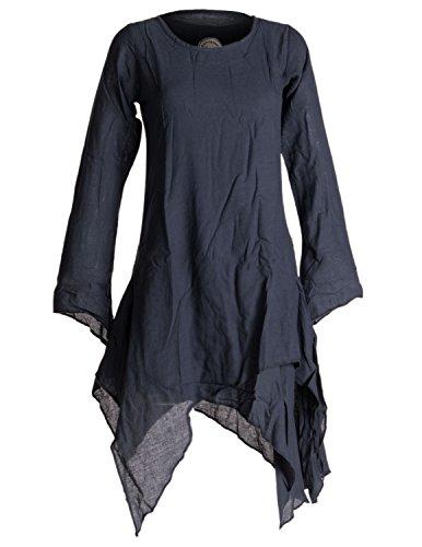 Vishes - Alternative Bekleidung - Langärmliges Zipfeliges Lagenlook Kleid/Tunika aus handgewebter Baumwolle schwarzuni 46-48
