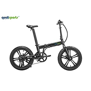 "Qualisports Beluga Electric Bicycle Fat Tire Folding Ebike 48V/10.5Ah Battery, 500W Hub Motor, Max Speed 20MPH, Range 25+Miles, 20""Integrated Wheel, 7 Speed Gear Derailleur Mountain Bike(Black)"