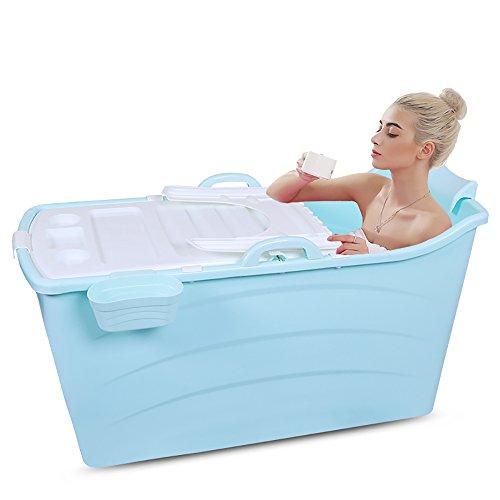 Folding bathtub-TOYM Erwachsene Badewanne Verlängern Kunststoff Faltbar, Einfach, Große Badewanne Unterzubringen (Farbe : Blue (with Cover))