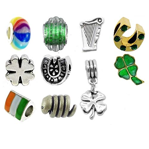Timeline Treasures European Charm Bracelet Charms and Beads for Women, DIY Jewelry, Lucky Irish Green