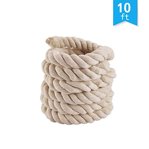 Faxco 10ft Natural Twisted Cotton Rope Strong Triple-Strand Rope for Sports, Crafts, Indoor Outdoor Use Tug of War Rope