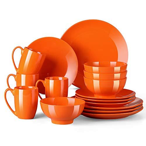 LOVECASA-Sweet Vajilla de 16 piezas Vajilla de Porcelana Cada Una con 4 Cuencos, 4 Tazas, 4 Platos de Postre y 4 Platos de Cena, Naranja