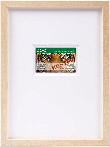 Bilderrahmen DIN A4 für Gutscheinkarte, Geschenkkarte, Kreditkarte, Lindenholz, mit Passepartout